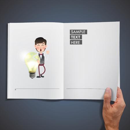 ecologic: La gente de negocios la celebraci�n de la bombilla ecol�gica impresas en libro