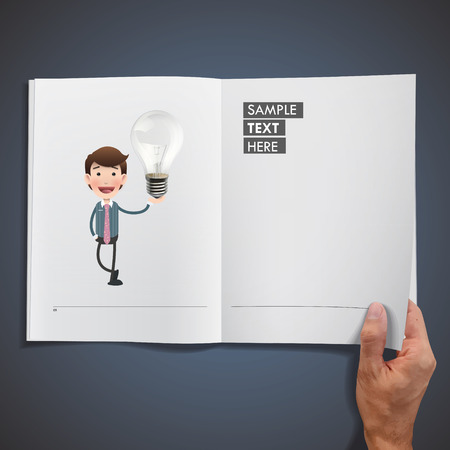 ecologic: Business people holding ecologic bulb printed on book
