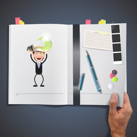 ecologic: La gente de negocios la celebraci�n de la bombilla ecol�gica impresos en el libro Vectores
