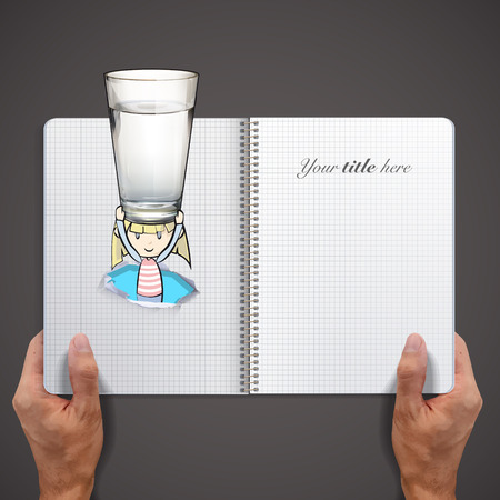 Girl holding a water glass printed on book Vector