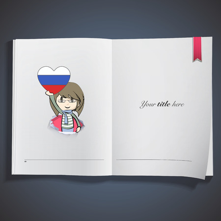Kid holding a heart flag printed on book Vector