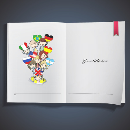 Kids holding heart flags printed on book Vector