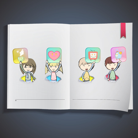 Kids holding badges printed on book Vector