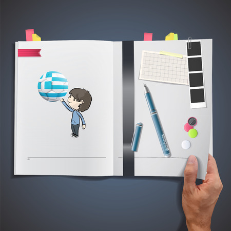 Kid with soccer ball printed on book Vector