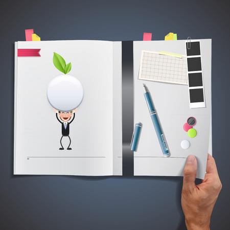 ecologic: Hombres de negocios con bot�n blanco ecol�gico impresos en el libro Vectores