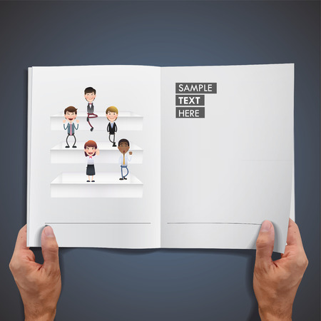 Business people on shelves printed on book Vector