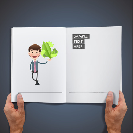 ecologic: business people with ecologic icon printed on book Illustration