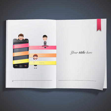 Business people with realistic phone printed on book Vector