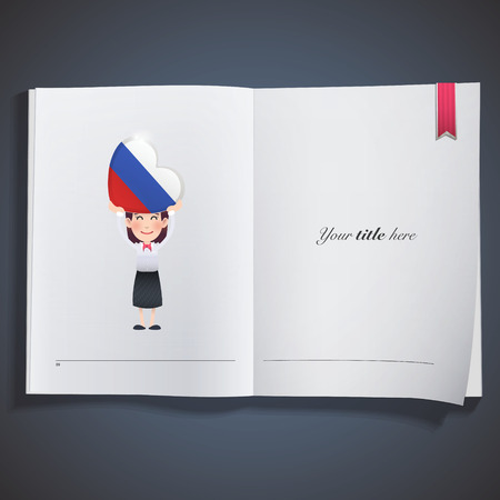 Business woman with russia flag heart printed on book Vector