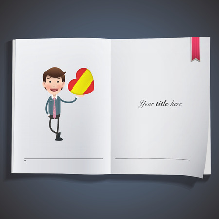 Businessman with spain flag heart printed on book Vector