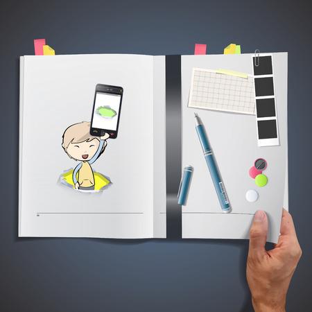 책에 인쇄 된 아이를 들고 전화 일러스트
