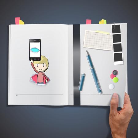 Kid holding Phones printed on book Vector