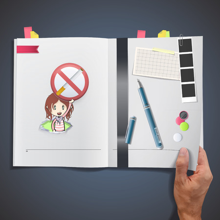 Kid holding a prohibited sign printed on book. Vector