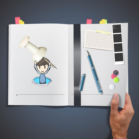 white pushpin: Kid holding a white pushpin printed on book. Illustration