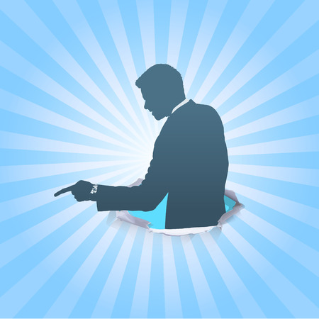 Silhouette of businessman angry and shouting. Vector design.