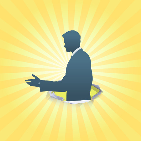Silhouette of businessman making a deal. Vector design.  Vector