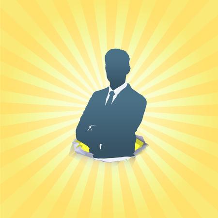 Silhouet van het bedrijfsleven man met zijn armen gekruist. Vector design. Vector Illustratie