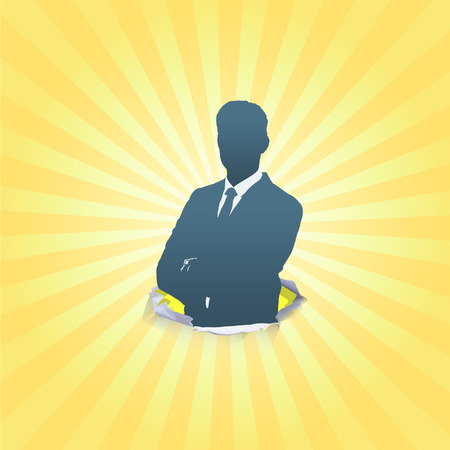 Silhouette of business man with his arms crossed. Vector design.  Illustration