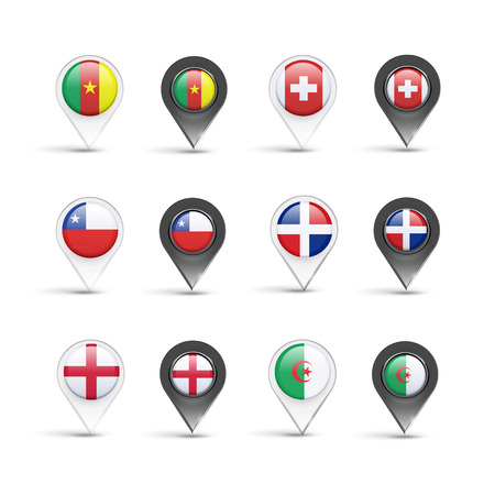 Sets of pointer flags over white background  Vector