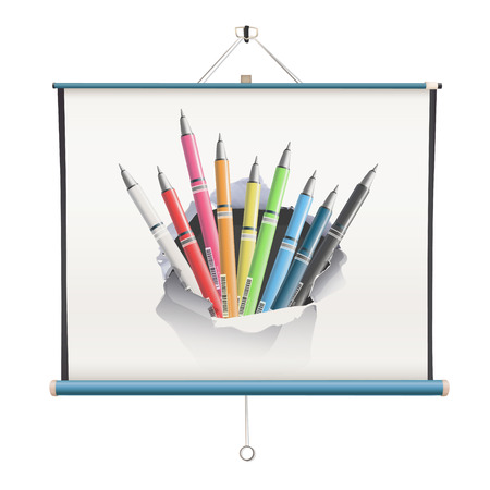 projector screen with pencils over white background Vector