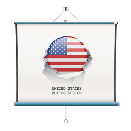 projector screen with American flag over white background Vector