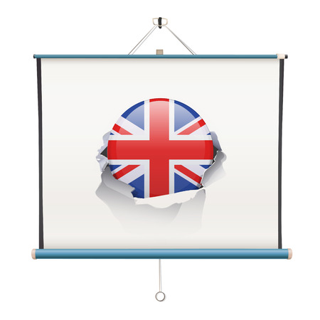 projector screen with England flag over white background Vector