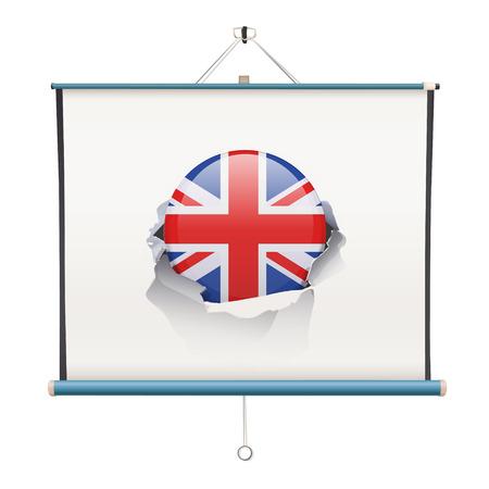 projector screen: schermo del proiettore con l'Inghilterra bandiera su sfondo bianco