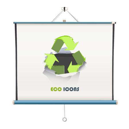projector screen with recycle icon over white background Vector
