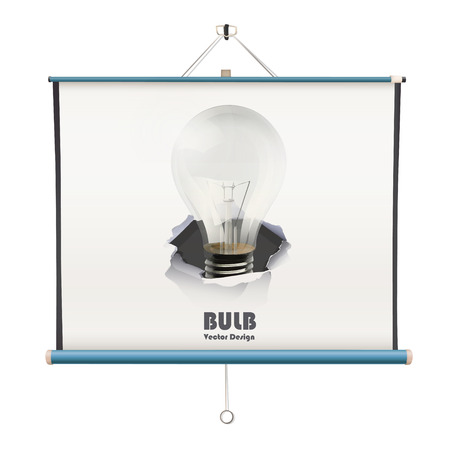 electric hole: projector screen with bulb over white background