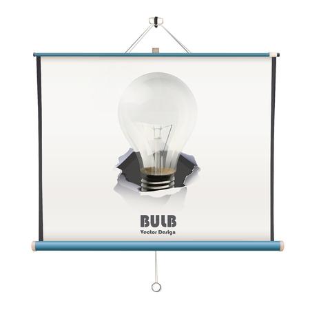 projector screen: schermo del proiettore con la lampadina su sfondo bianco