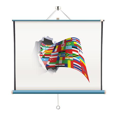 projectiescherm met grote vlag op een witte achtergrond Stock Illustratie