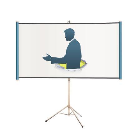 projector screen: schermo del proiettore con uomo d'affari fare un accordo su sfondo bianco