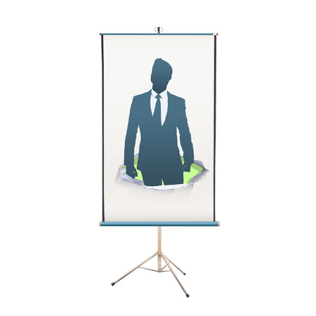 himself: projector screen with businessman proud of himself over white background
