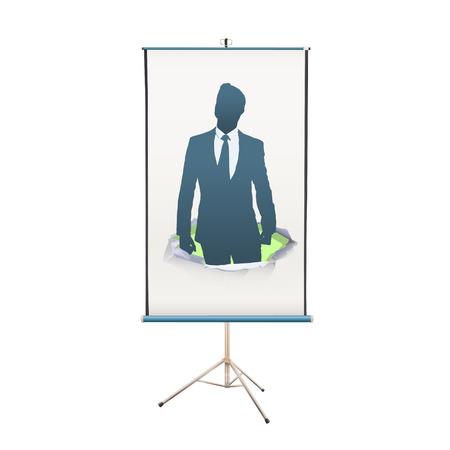 projector screen: schermo del proiettore con l'imprenditore fiero di s� su sfondo bianco Vettoriali