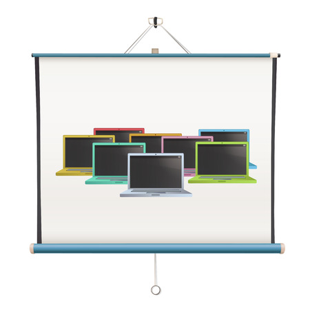 projector screen with laptops over white background Vector