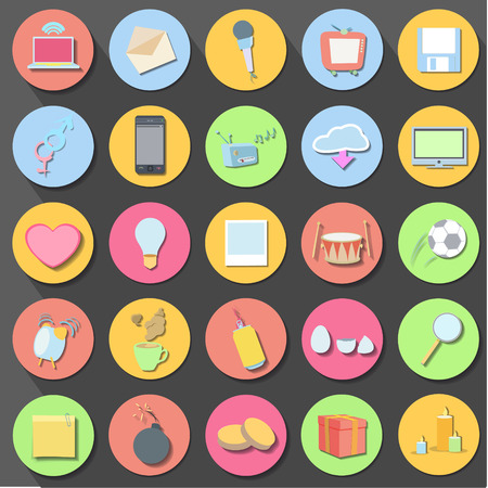Set of icon web over black background  Vector