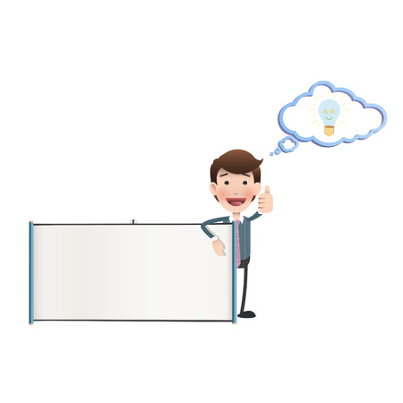 Business people with projector screen over white. Vector design.  Illustration