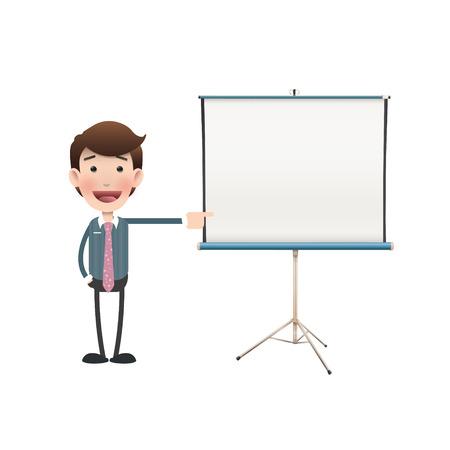 projector screen: Uomini d'affari con schermo del proiettore su bianco. Disegno vettoriale.