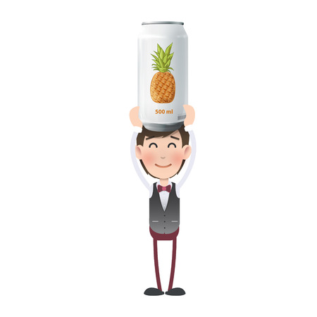 Businessman with tin of pineapple juice. Vector design  Vector