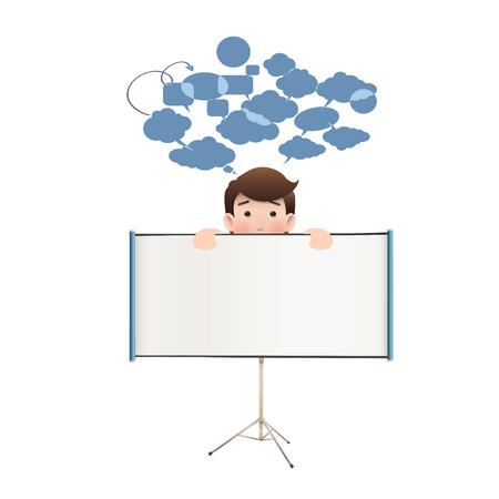 projector screen: Gente di affari con schermo di proiezione su bianco. Disegno vettoriale.