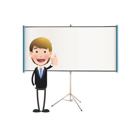 Business people with projector screen over white. Vector design.  Vector