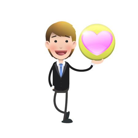 Business people with heart over white. Vector design.  Vector