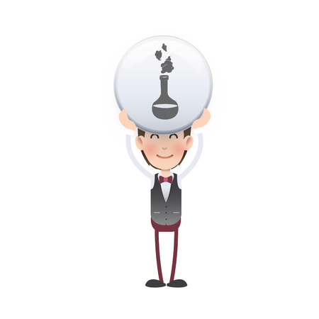 Businessman with icon web over white. Vector design. Vector