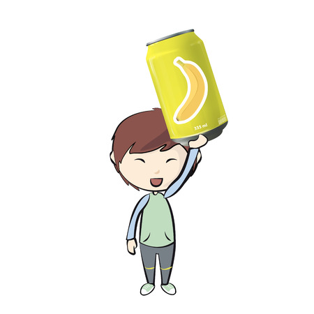 Kid with can of banana juice. Vector design  Vector