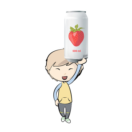 Kid with  tin of strawberry juice. Vector design  Vector