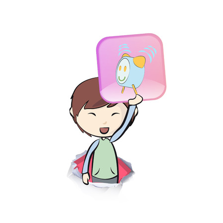 Kid holding a badge. Vector design.  Vector