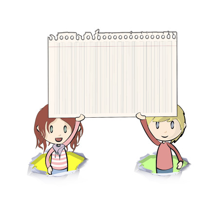 Kids holding a note paper on white background. Vector design.  Vector