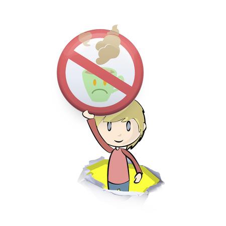 Kid Holding verboden teken van koffie. Vector achtergrond ontwerp Stock Illustratie