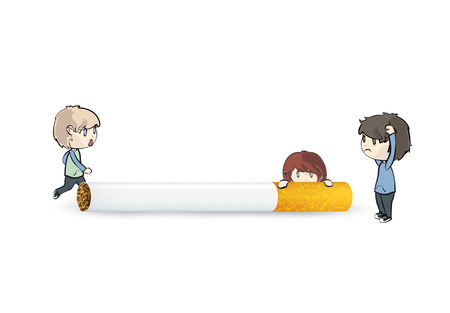 childhood cancer: Kids with cigarette over isolated white background  Illustration