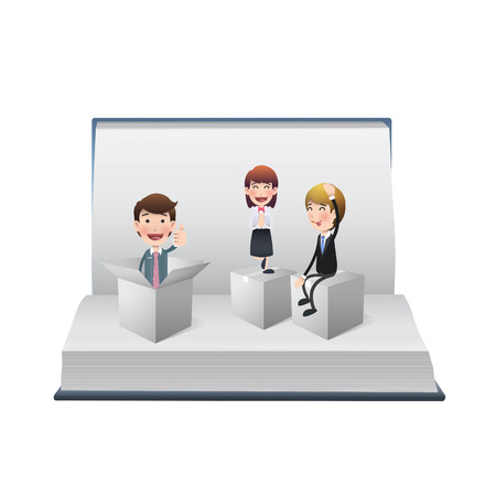 Business people with white boxes on open book Vector